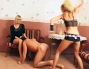 Strict and pretty mistresses in sexy underwear teaching their naughty slave a lesson