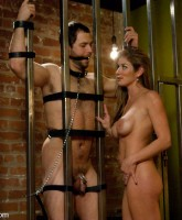Wormy husband is locked away in chastity then made to watch wife get fucked then sniff the sex and c...